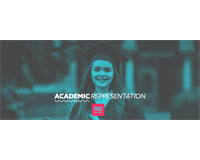 "Graduated student stands with their qualification. Text reads ""Academic Representation"""