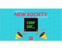 "Text reads ""There's a new society @HWUnion"". Computer Science society logo at centre - party popper"