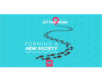 "Footsteps on a path: text at start reads ""Forming a new society"" and 'arrives at' ""Winning new socie"