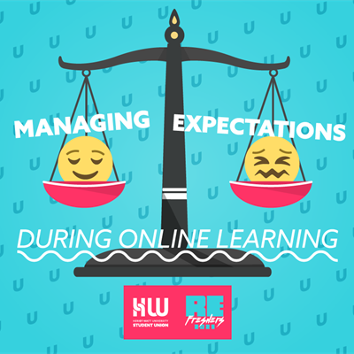 "Old-fashioned scales balance unhapy/happy emojis. Text reads ""Managing Expectations During Online Le"