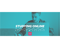 "Man studies at a laptop: text reads ""Studying Online; keeping U focused""."
