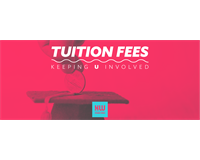 "Student places coin into graduation cap. Text reads ""Tuition fees, Keeping U Involved""."