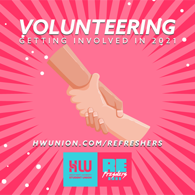 "Hands reaching out - text reads ""Volunteering - getting involved in 2021"""