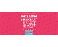 "Wellbeing Graphic; text reads ""Wellbeing Services at Heriot-Watt University"""